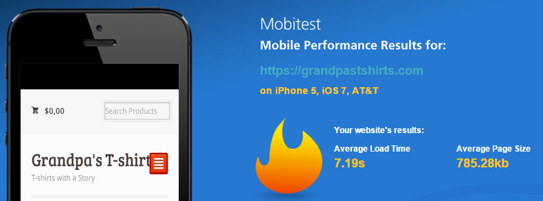 Mobil web load speed test