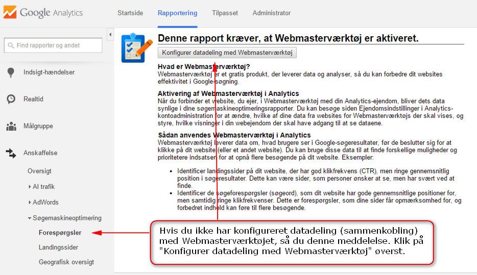 Analytics - Webmasterværktøj datadeling test
