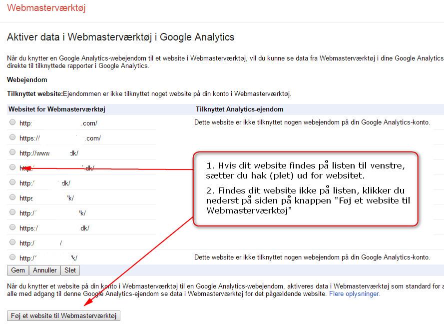 Aktiver data i Webmasterværktøjer