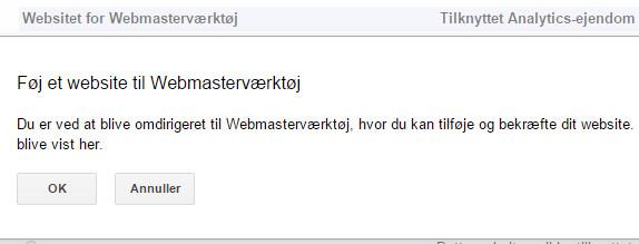 Gå til Webmasterværktøjer